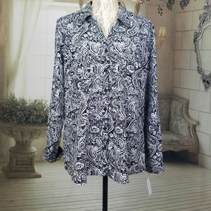NY Collection Paisley Button Down Black & White